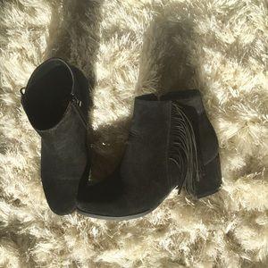 Black Suede Fringe Ankle Booties